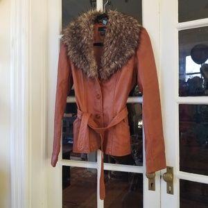 Leather +  Fur Trim Jacket in Saddle Tan